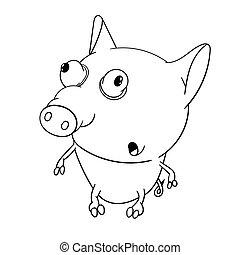 mignon, peu, coloration, big-eyed, pig., livre, zoo., amusement, kids.