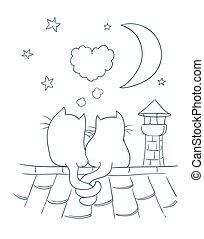 mignon, peu, coloration, bulle, coeur, lune, formé, deux, illustration, chimney., romance, thème, vecteur, toit, version, chats, dessin animé, étoiles, page