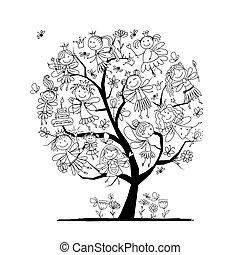 mignon, peu, coloration, fées, arbre, page, conception, ton