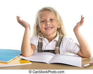 mignon, peu, concept, bureau, écolière, education, enfants, heureux