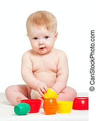 mignon, peu, couleur, sur, isolé, jouets, bébé, blanc, jouer