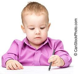 mignon, peu, dessin, stylo, garçon