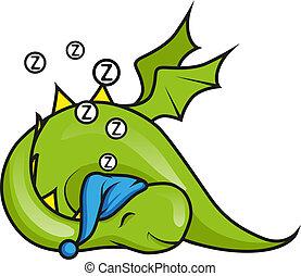 mignon, peu, dragon, dormir