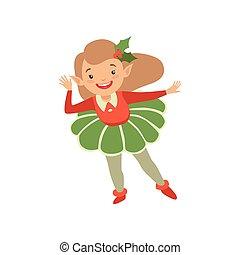mignon, peu, elfe, appy, illustration, noël, vecteur, déguisement, fond, blanc, vacances, girl