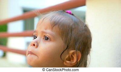mignon, peu, elle, face., larmes, asiatique, pleurer, portrait, girl, closeup