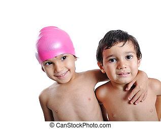 mignon, peu, enfants, piscine