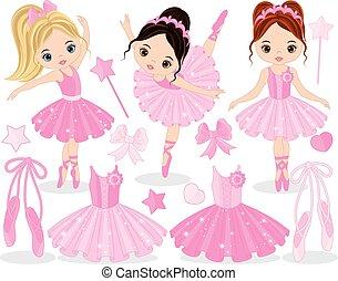 mignon, peu, ensemble, chaussures, ballerines, ballet,...