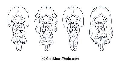 mignon, peu, ensemble, elle, characters., chaton, girl, dessin animé, hands.