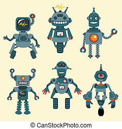mignon, peu, ensemble, -, robots, collection, 1, vecteur
