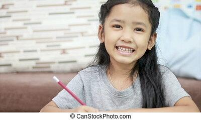 mignon, peu, espace, sourire, fille asiatique, copie, composition, bonheur