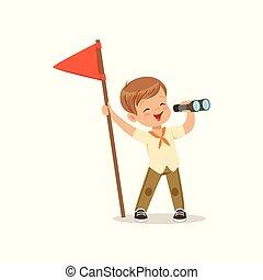mignon, peu, extérieur, garçon, jumelles, camp, illustration, regarder, drapeau, vecteur, par, déguisement, activité, rouges, scout