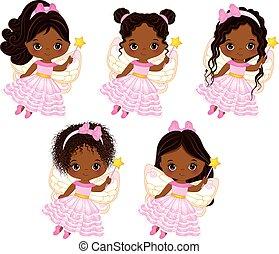 mignon, peu, fées, américain, vecteur, divers, africaine, coiffures