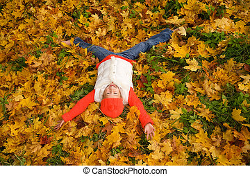 mignon, peu, feuilles, automne, girl, mensonge