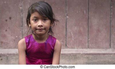 mignon, peu, fille asiatique, heureux