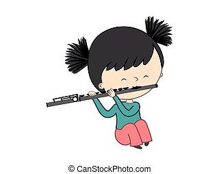 mignon, peu, flûte, -, isolé, illustration, jouer, vecteur, fond, blanc, girl