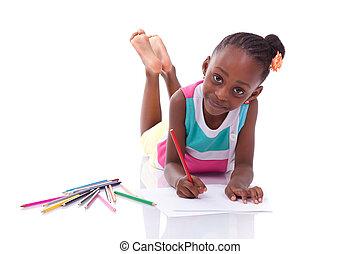mignon, peu, gens, dessin, blanc, -, isolé, américain, arrière-plan noir, africaine, enfants
