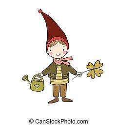 mignon, peu, gnome, trèfle, isolé, watering., arrière-plan., objets, blanc