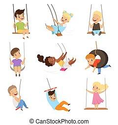mignon, peu, gosses, balance, oscillation, filles, illustration, corde, garçons, vecteur, fond, amusement, blanc, extérieur, avoir