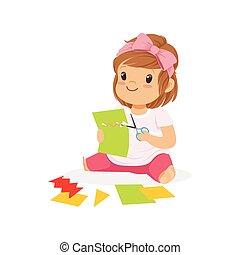 mignon, peu, gosses, coloré, développement, caractère, illustration, ?utting, application, détails, vecteur, créativité, enfant, girl, education
