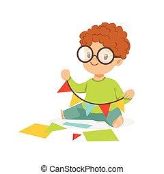 mignon, peu, gosses, coloré, guirlande, garçon, caractère, pennants, illustration, vecteur, développement, créativité, enfant, confection, education