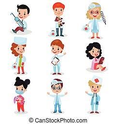 mignon, peu, gosses, docteur, ensemble, filles, garçons, vecteur, illustrations, professionnel, habillement, jouer