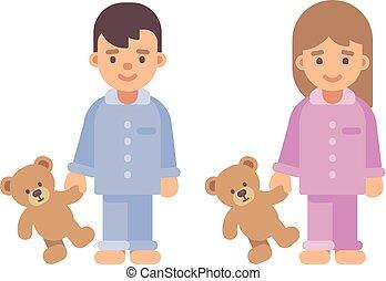 mignon, peu, gosses, garçon, teddy, deux, plat, bears., illustration, tenue, girl, pyjamas