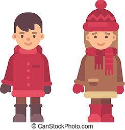 mignon, peu, gosses, hiver, plat, couple, valentines, deux, clothes., noël, characters., illustration, enfants, jour