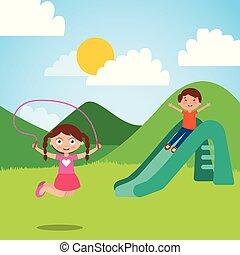 mignon, peu, gosses, sauter corde, diapo, cour de récréation, jouer, heureux