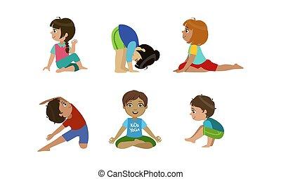 mignon, peu, gosses, yoga, ensemble, illustration, sain, vecteur, gymnastique, activité, exercices, style de vie, physique