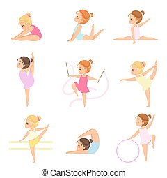 mignon, peu, gymnastes, ballerines, ensemble, filles, formation, collants danseur, vecteur, illustration, caractères, exercices