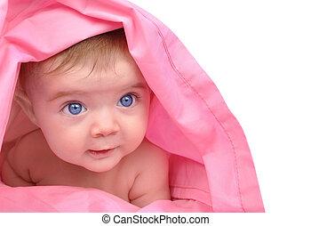 mignon, peu, haut, bébé, blanc, dévisager