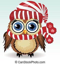mignon, peu, hiver, hibou, abri, pompon, hibou, froid, chapeau, blanc rouge