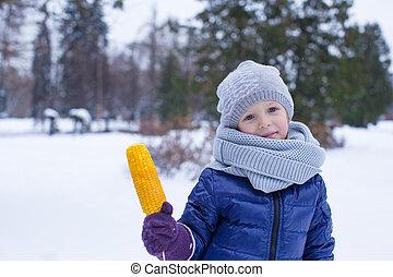 mignon, peu, hiver, parc, portrait, girl