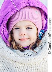 mignon, peu, hiver, park., portrait, girl