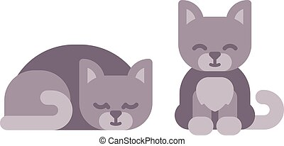 mignon, peu, icônes, séance, plat, dormir, chaton