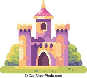 mignon, peu, illustration., plat, conte, château, fée