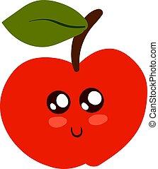 mignon, peu, illustration, pomme, arrière-plan., vecteur, blanc