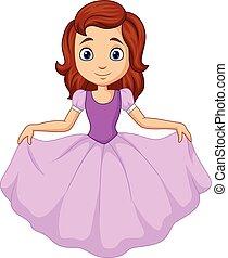 mignon, peu, isolé, fond, blanc, princesse