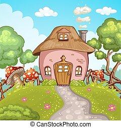 mignon, peu, jardin, maison