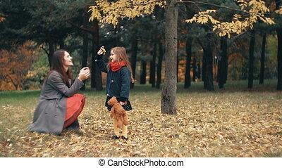 mignon, peu, lent, elle, rigolote, bouquet, parc, automne, surprenant, wildflowers, mère, recueilli, girl, mouvement, donne