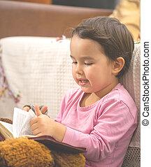mignon, peu, livre, enfant, lecture fille
