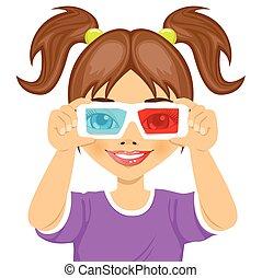 mignon, peu, lunettes, girl, essayer, 3d