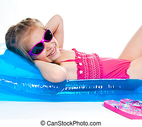mignon, peu, matelas gonflable, complet, girl, natation
