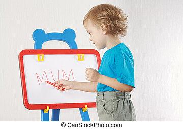 mignon, peu, mot, garçon, whiteboard, blonds, maman, a écrit