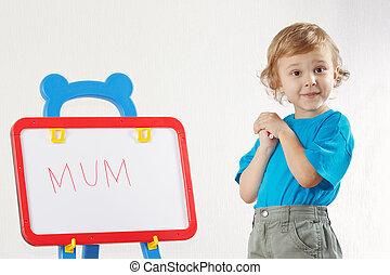 mignon, peu, mot, garçon, whiteboard, maman, a écrit