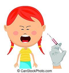 mignon, peu, obtenir, vaccination, pleurer, girl