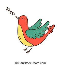 mignon, peu, oiseau, singing.