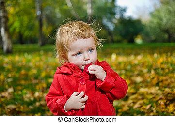 mignon, peu, parc, automne, blond, girl