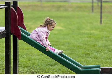 mignon, peu, parc, jouer, girl