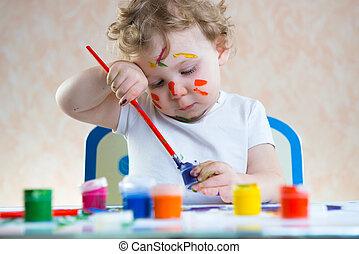 mignon, peu, peinture, enfant